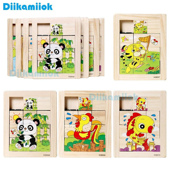 New Wooden Nine Plaid Sliding Jigsaw Puzzle Baby Early Learning Intellective Development Toys for Children Animal Puzzles XQ801