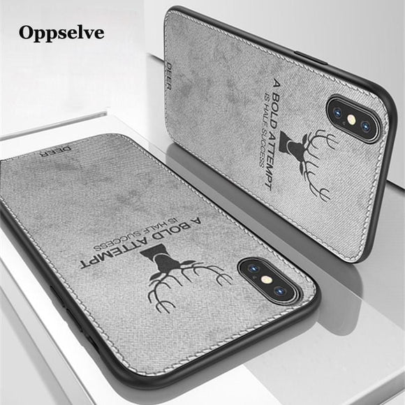 Phone Case For iPhone X XR XS MAX Ultra Slim Canvas Fabric Embossed Deer Capinhas For iPhone X 10 IX Soft TPU Coque Fundas Capa