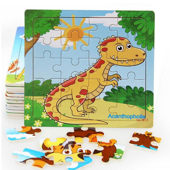Sale New 20 Piece Wooden Puzzle Kids Toy Baby Wooden Jigsaw Puzzles Cartoon Dinosaur Animal Early Educational Toys for Children