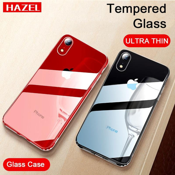 Shockproof Tempered Glass Case for iPhone 7 Plus 8 6 s Plus Mirror Cover Original Logo for Coque iPhone XS MAX XR X Luxury Cases