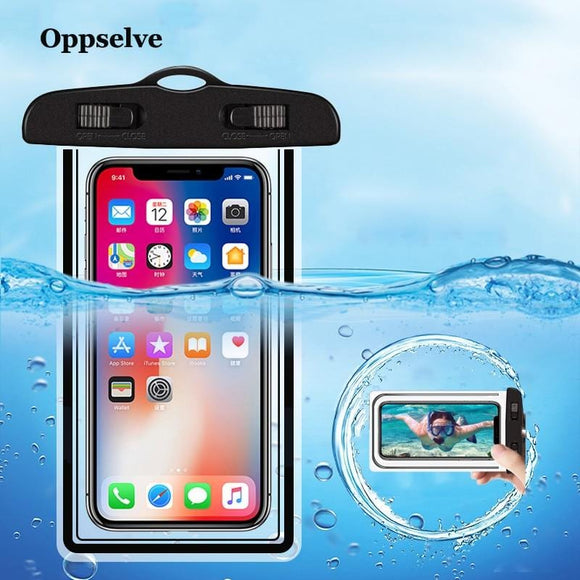 Universal Waterproof Mobile Phone Case For iPhone Xs X 8 Samsung S9 Clear PVC Sealed Underwater Cell Smart Phone Dry Pouch Cover