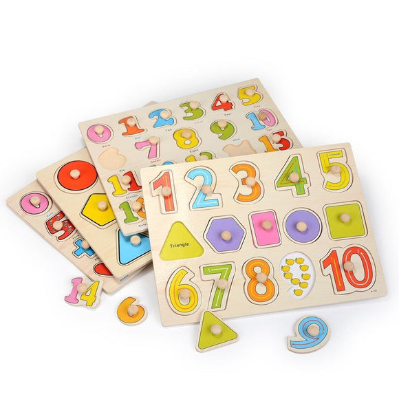 Zalami Baby Hand Grasp Wooden Puzzle Toys Tangram Jigsaw Board Cartoon Toys For Children Early Education