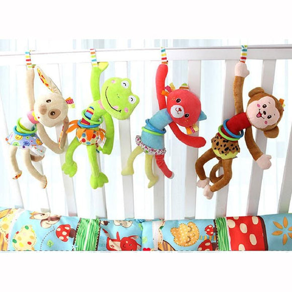 Animal Baby Soft Toy Ring Bell  Plush Rattle Squeaker Cute Cartoon Dog /Frog /Monkey/ cat  pull shock baby  WJ371