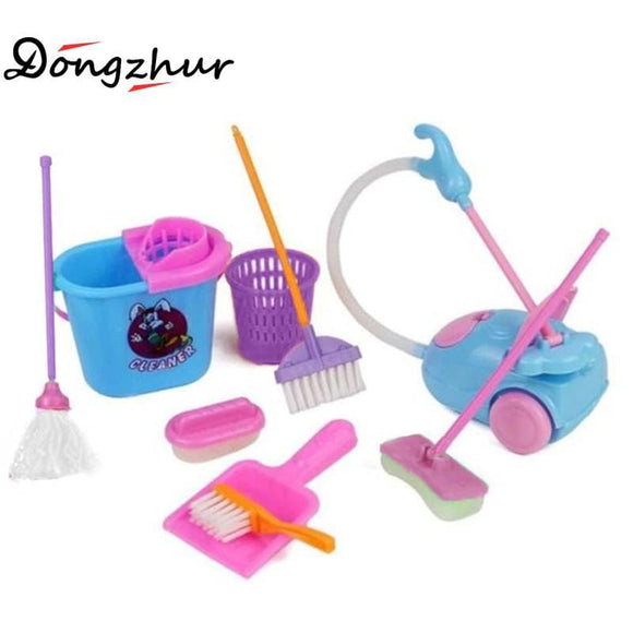 9pcs/set Creative Simulation Cleaning Toys Children Pretend Play Toy Funny House Cleaning Set Mini Mop Trash Bins Tools GJJHO31A
