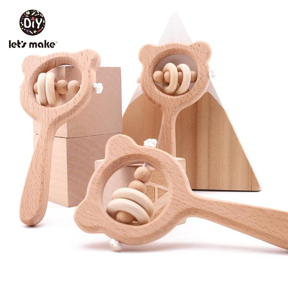 Wooden Rattle Beech Bear Hand Teething Wooden Ring Baby Rattles Play Gym Montessori Stroller Toy Educational Toys Let's Make