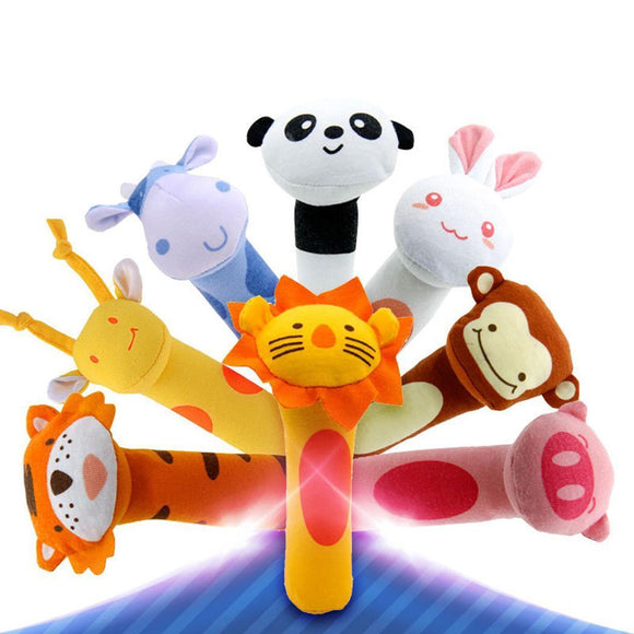 Multi color Cute Animal Shape Soft Make Sound Rattle Baby Handheld infant toy animal rattle