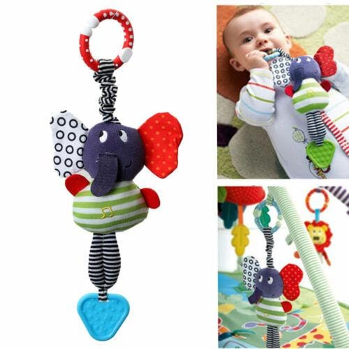 Cute Music Elephant Lathe Hang Baby Soft Dolls Educational Toys Teether