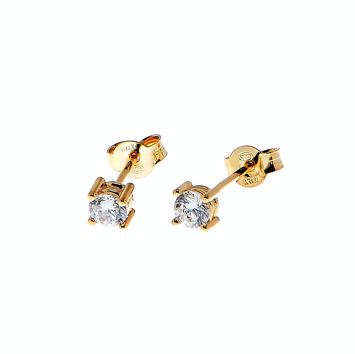 CU JEWELLERY TWO SQUARE STONE STUD GOLD