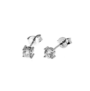 CU JEWELLERY TWO SQUARE STONE STUD SILVER
