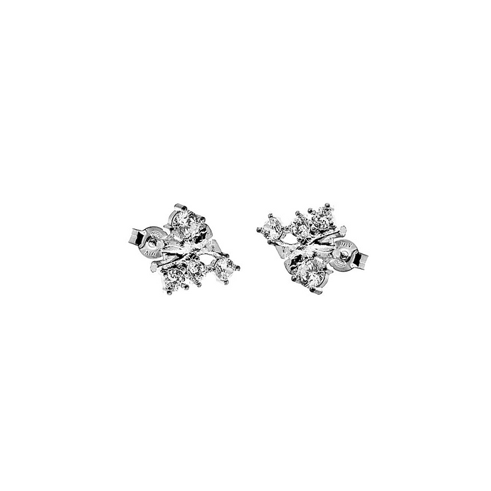 CU JEWELLERY TWO KLUSTER EARRINGS SILVER