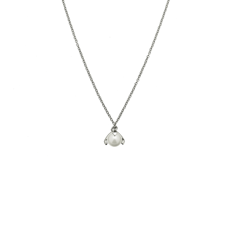 CU JEWELLERY PEARL NECKLACE SHORT SILVER