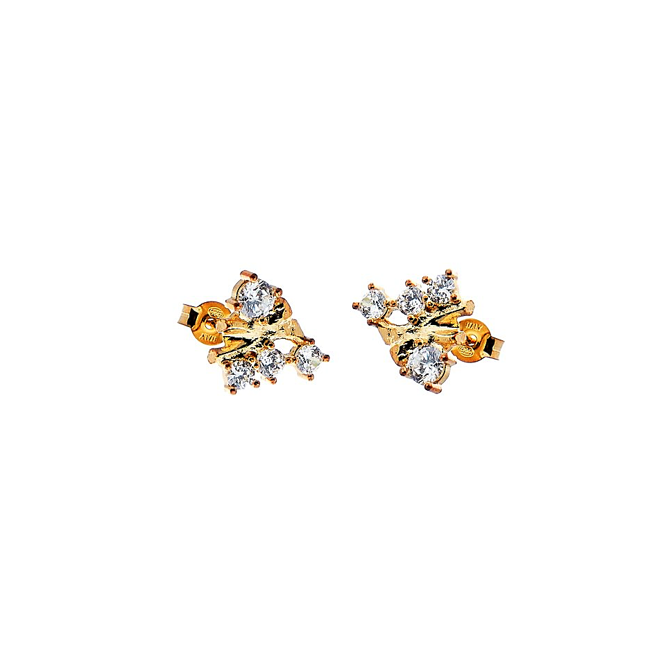 CU JEWELLERY TWO KLUSTER EARRINGS GOLD