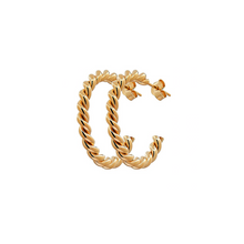Load image into Gallery viewer, CU JEWELLERY TWO TWINNED HOOP GOLD
