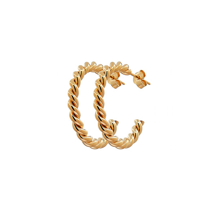 CU JEWELLERY TWO TWINNED HOOP GOLD