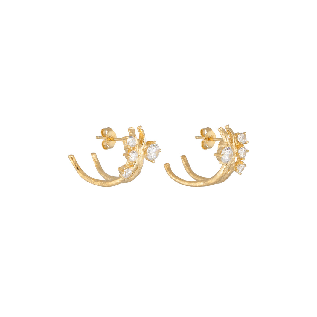 CU JEWELLERY CUBIC KLUSTER EAR GOLD
