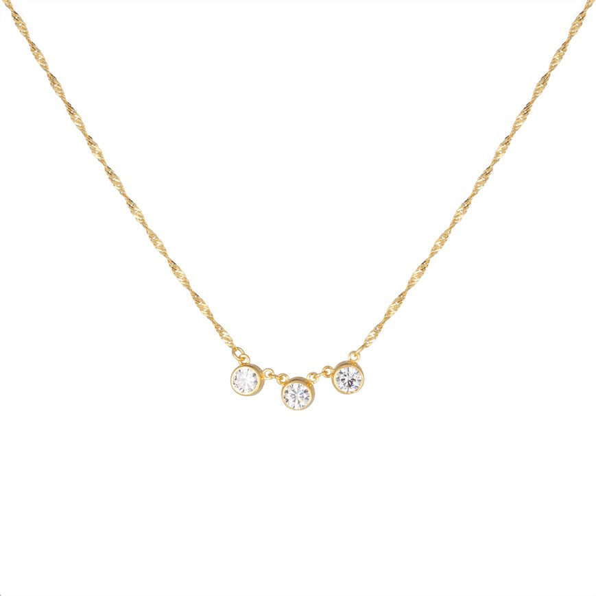 CU JEWELLERY CUBIC TRIPLE NECKLACE GOLD