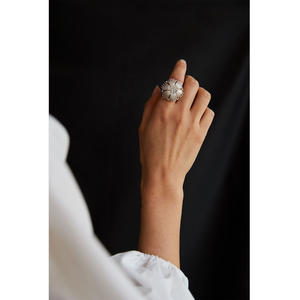 CU JEWELLERY GATSBY BIG STONE RING SILVER