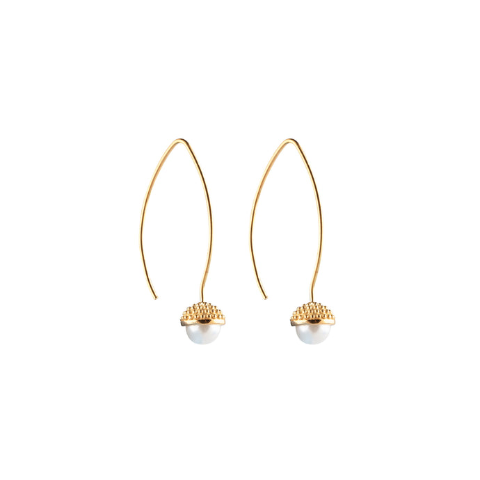 CU JEWELLERY PEARL BUBBLE LONG EAR GOLD
