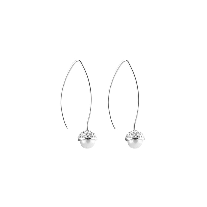 CU JEWELLERY PEARL BUBBLE LONG EAR SILVER