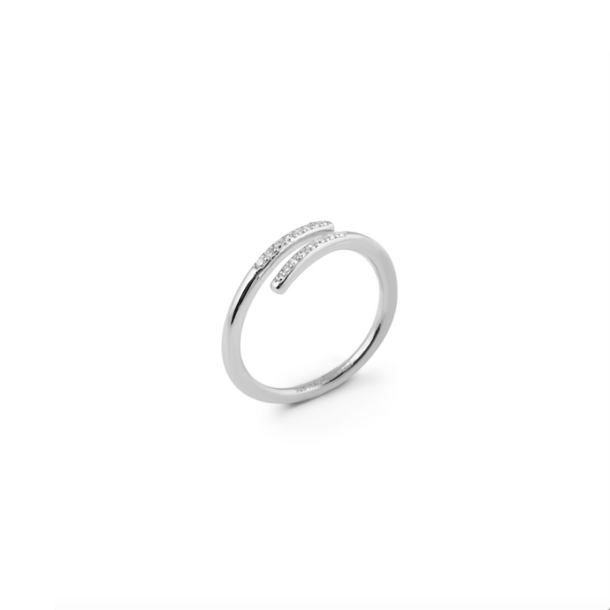 CU JEWELLERY LOOP STONE RING SILVER