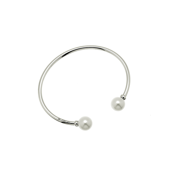 CU JEWELLERY PEARL BANGLE FLEX SLVER