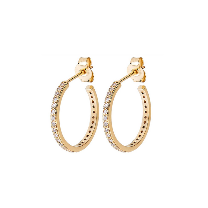 CU JEWELLERY TWO ROUND STONE EAR GOLD