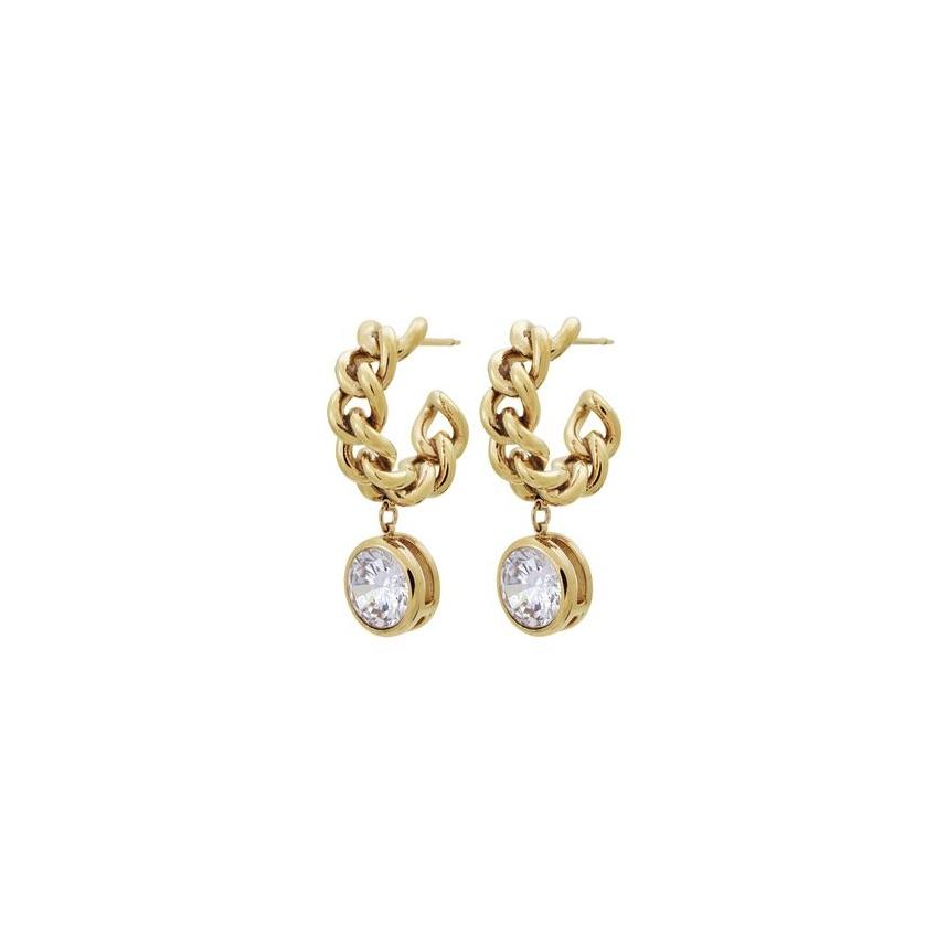 EDBLAD LOURDES CZ CREOLE EARRINGS GOLD