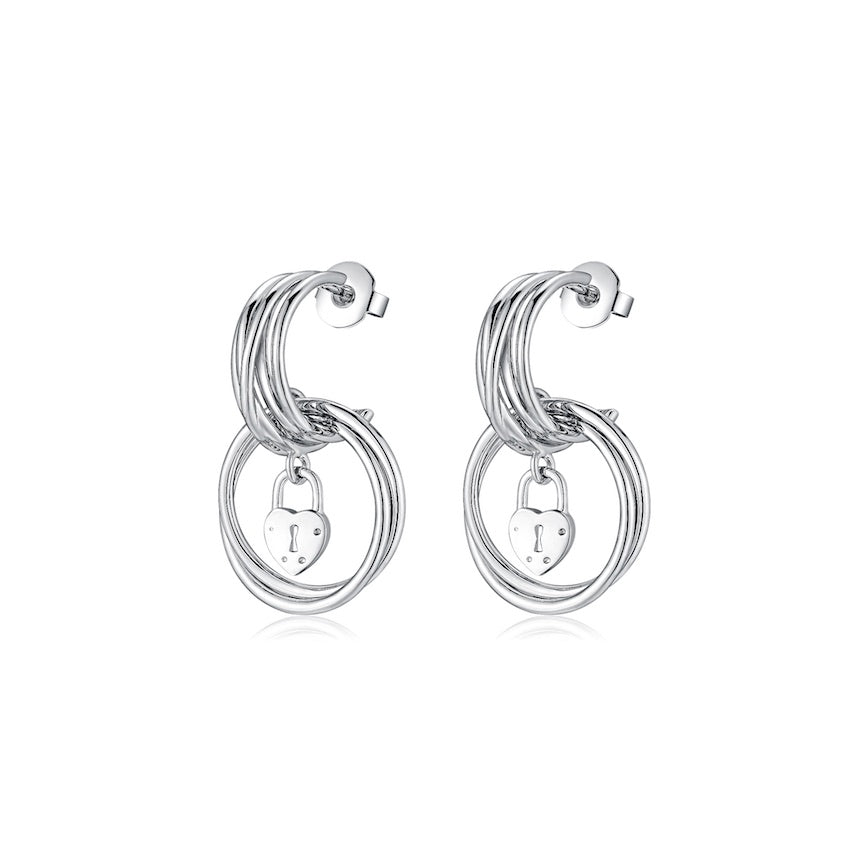 LA MAISON BAGATELLE PADLOCK EARRINGS SILVER