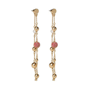 LA MAISON BAGATELLE BALLCHAIN EARRINGS GOLD RED