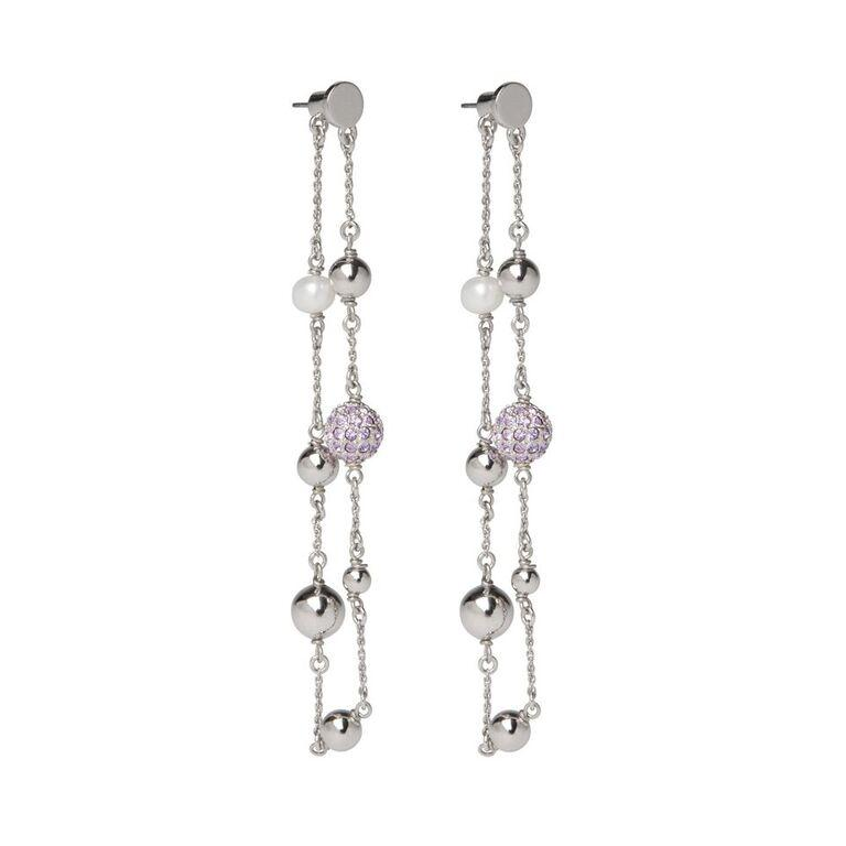 LA MAISON BAGATELLE  BALLCHAIN EARRINGS SILVER LILAC