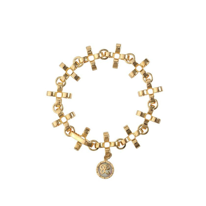 PANTOLIN CROSS CHAIN BRACELET GOLD