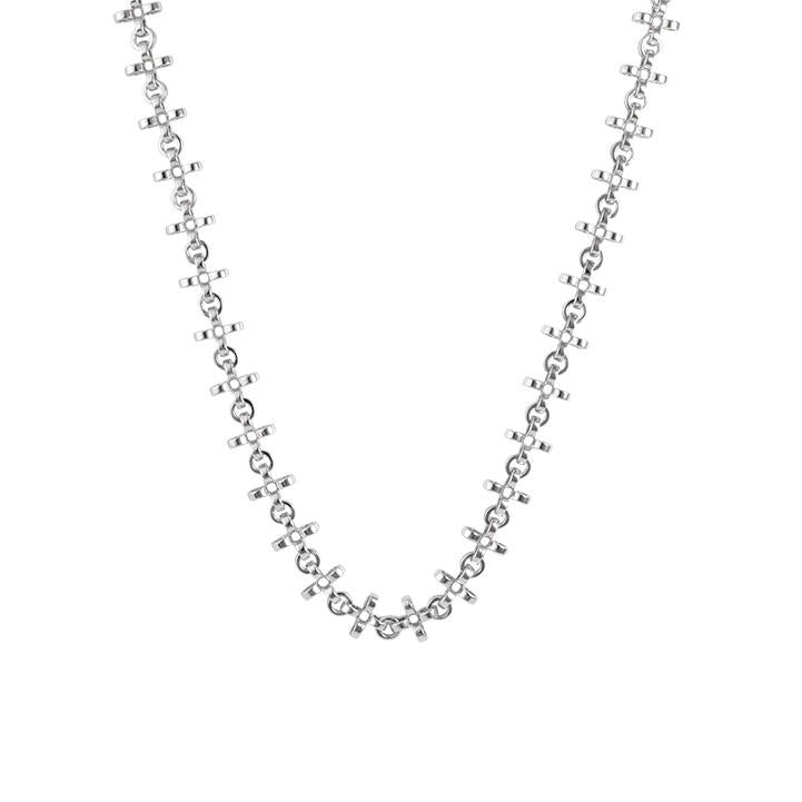 PANTOLIN CROSS CHAIN NECKLACE SILVER LONG