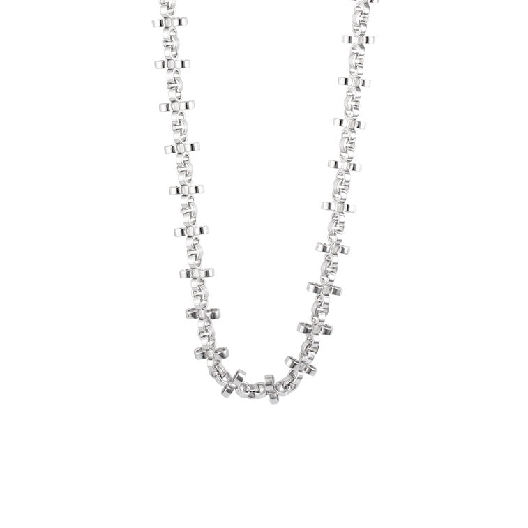 PANTOLIN CROSS CHAIN NECKLACE SILVER SHORT