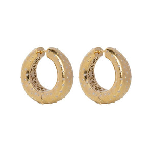 PANTOLIN OSTRICH HOOP EARRINGS GOLD Den vackra