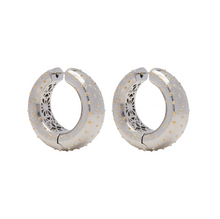 Load image into Gallery viewer, PANTOLIN OSTRICH HOOP EARRINGS SILVER