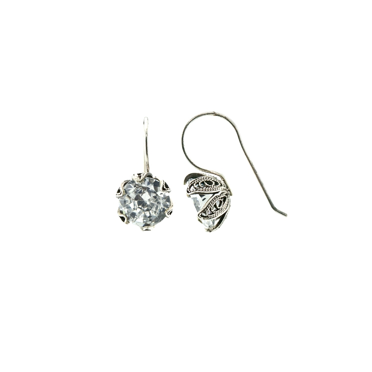 YVONE CHRISTA NY TULIP EARRINGS MEDIUM HOOK, CZ