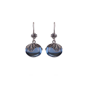 YVONE CHRISTA-EARINGS-RETRO COLLECTION-E5185-BLUE AQUA LEMURIA