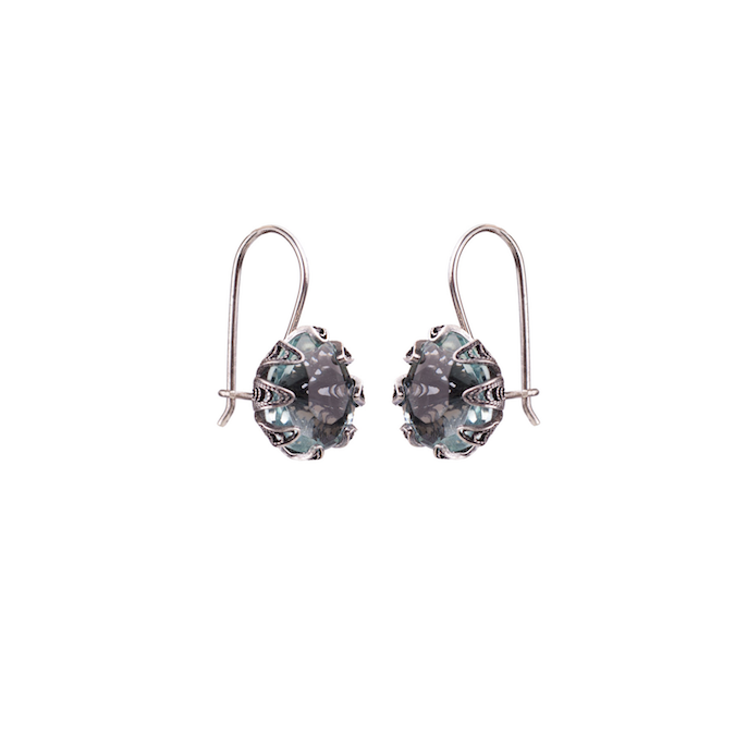 YVONE CHRISTA TULIP EARRINGS OVAL HOOK, AQUA LEMURIA