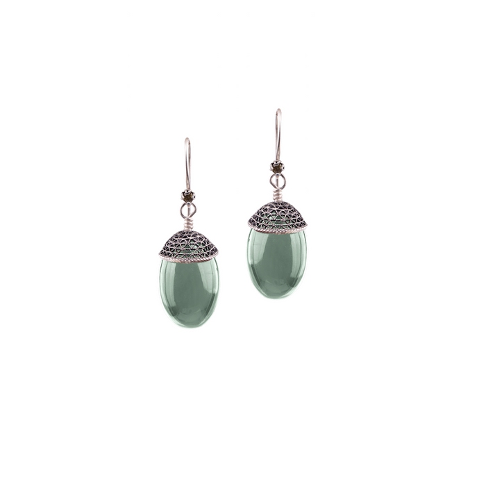 YVONE CHRISTA-ACORN -EARRINGS-LIGHT GREEN AQUA LEMURIA-E5105
