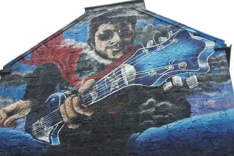 Mural of Gerry Rafferty on Brown's Lane, Paisley