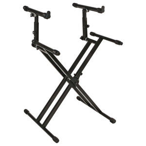 Quiklok QL742 Heavy Duty Double Braced Two-Tier Keyboard Stand