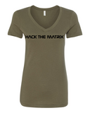 Hack The Matrix Ladies V Neck