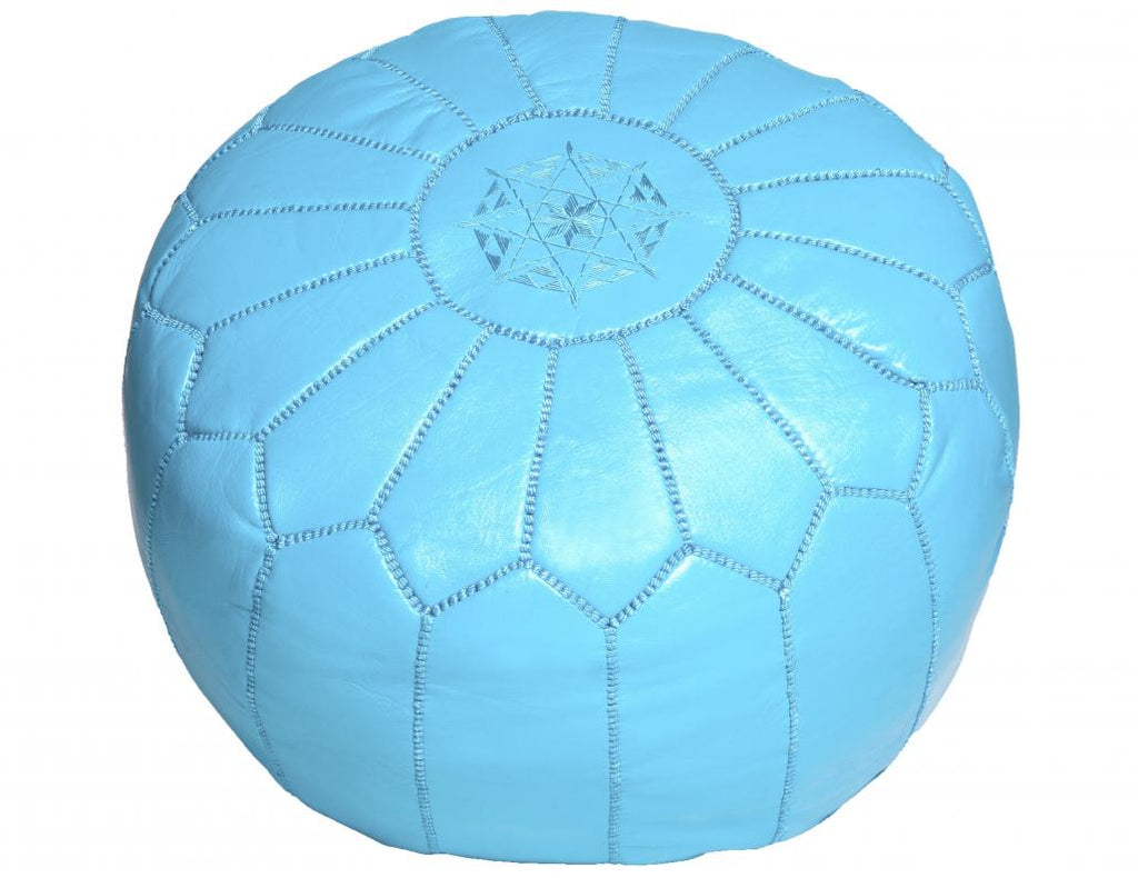 Sky Blue Leather Pouf, Stuffed
