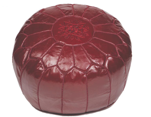 Maroon Leather Pouf, Stuffed