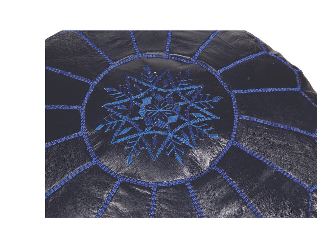 Navy Blue Leather Pouf, Stuffed