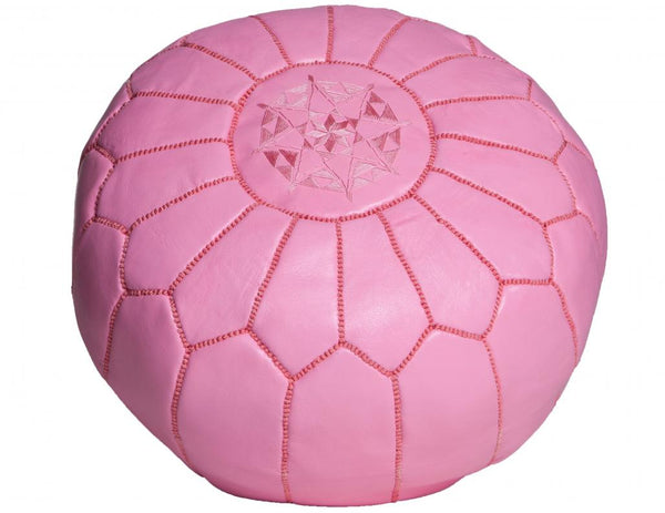 Pink Moroccan Leather Pouf, Unstuffed