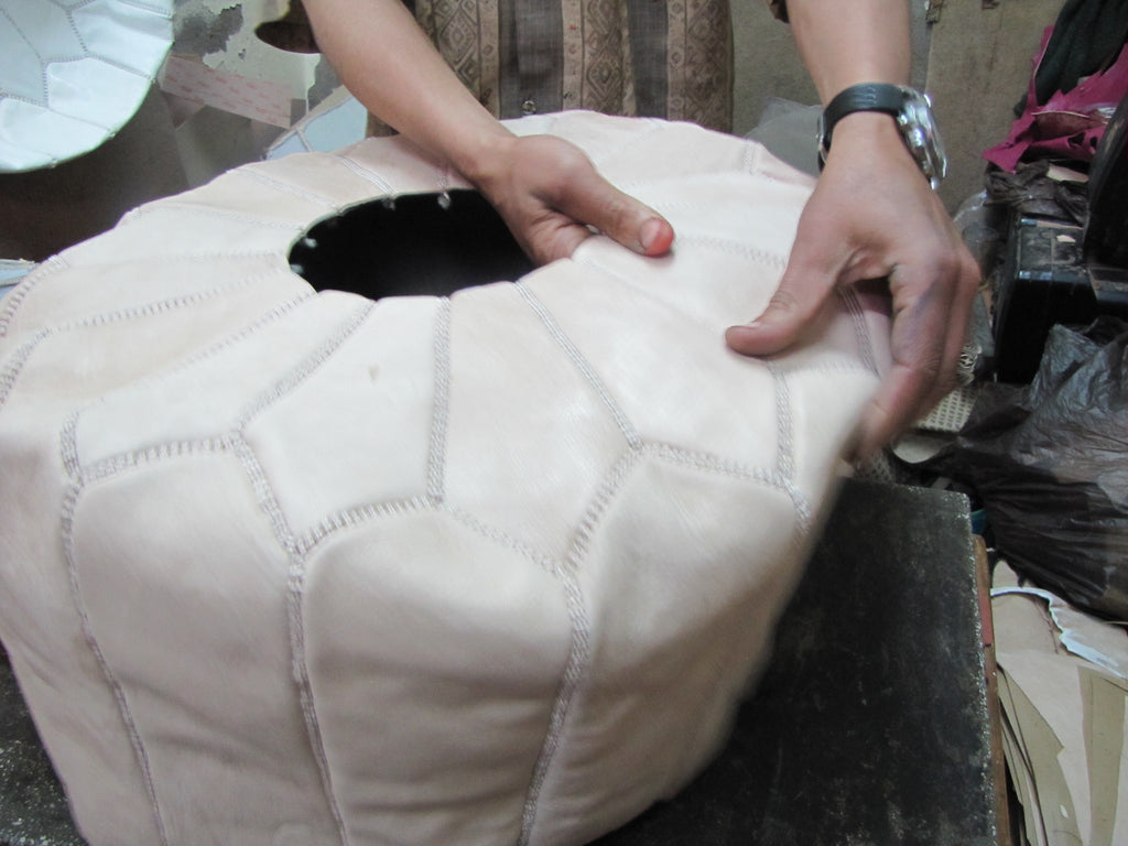 Black Leather Pouf with White Stitching, Unstuffed