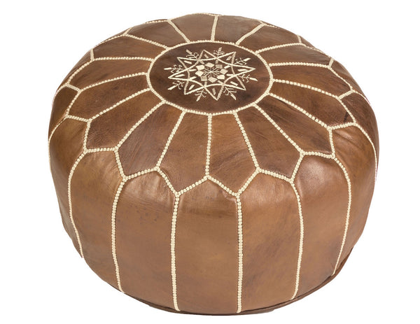 Natural Brown Leather Pouf, Stuffed