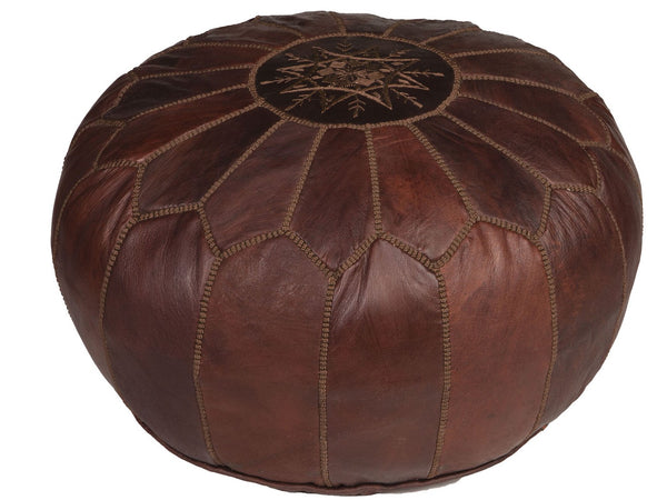 Brown Leather Pouf with Brown Stitching, Stuffed