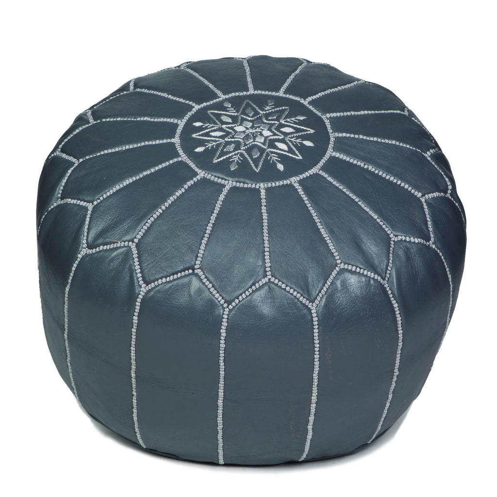 Grey Leather Pouf, Unstuffed